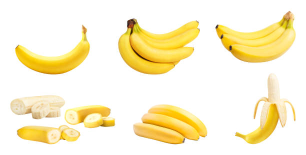 Set of bananas isolated Set of bananas whole and slices isolated on white background. Clipping path included banana stock pictures, royalty-free photos & images
