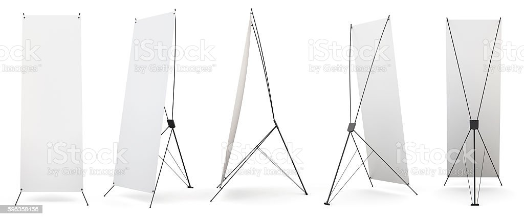 Set of banner x-stands display isolated on white background. 3d stock photo