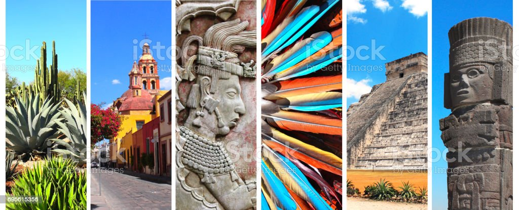 Set of banners with landmarks of Mexico stock photo
