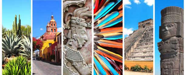 reihe von bannern mit sehenswürdigkeiten von mexiko - pyramide sammlung stock-fotos und bilder