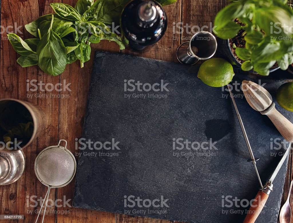 Set of bar accessories and ingredients for making a cocktail stock photo