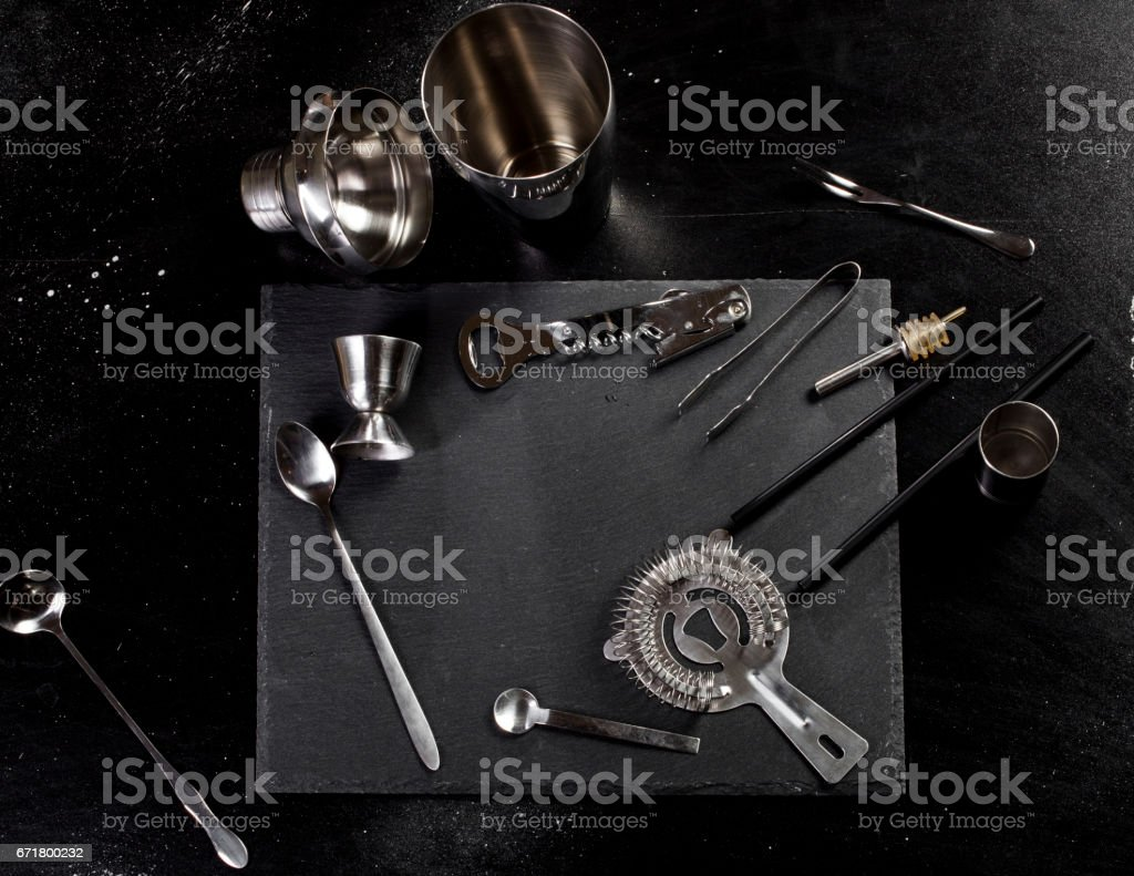 Set of bar accessories for making a cocktails stock photo