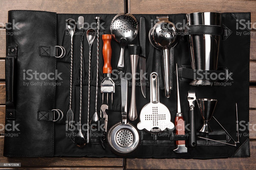 Set of barman equipment in case Set of barman equipment in black case Backgrounds Stock Photo