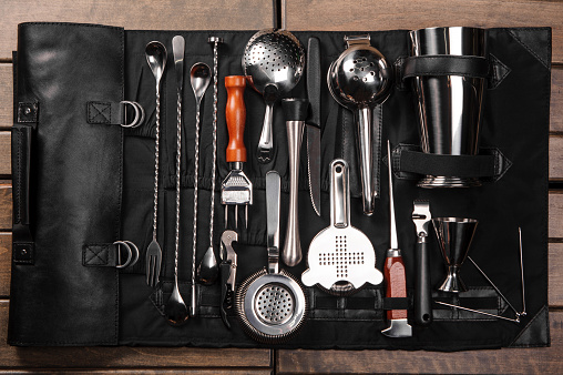 Set Of Barman Equipment In Case Stock Photo - Download Image Now