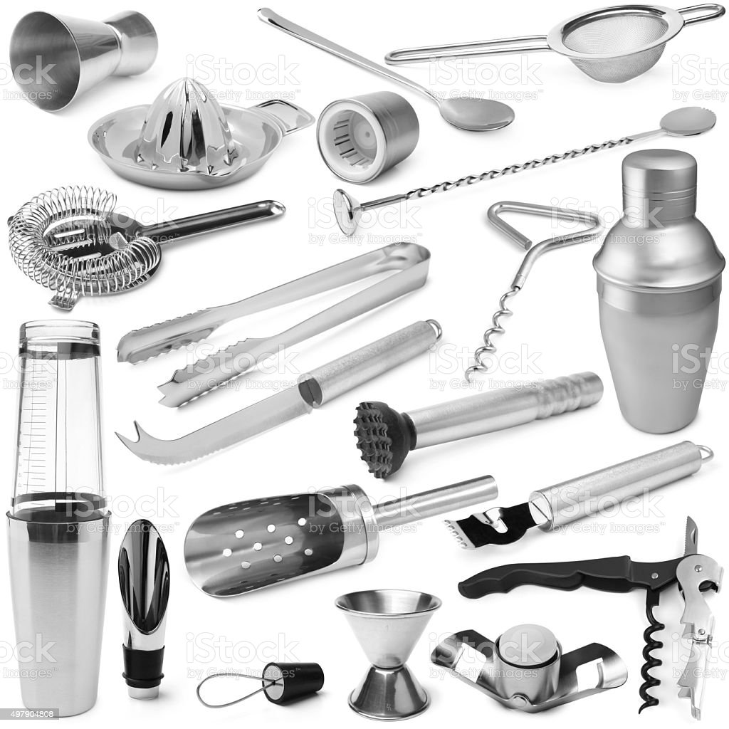 Set of barman equipment stock photo