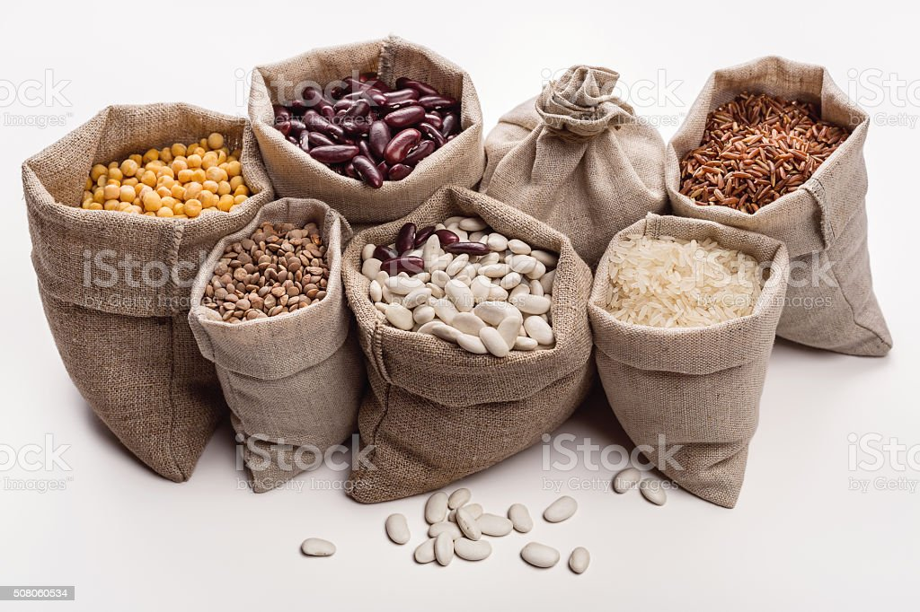 Set of beans and cereals in the bag. stock photo