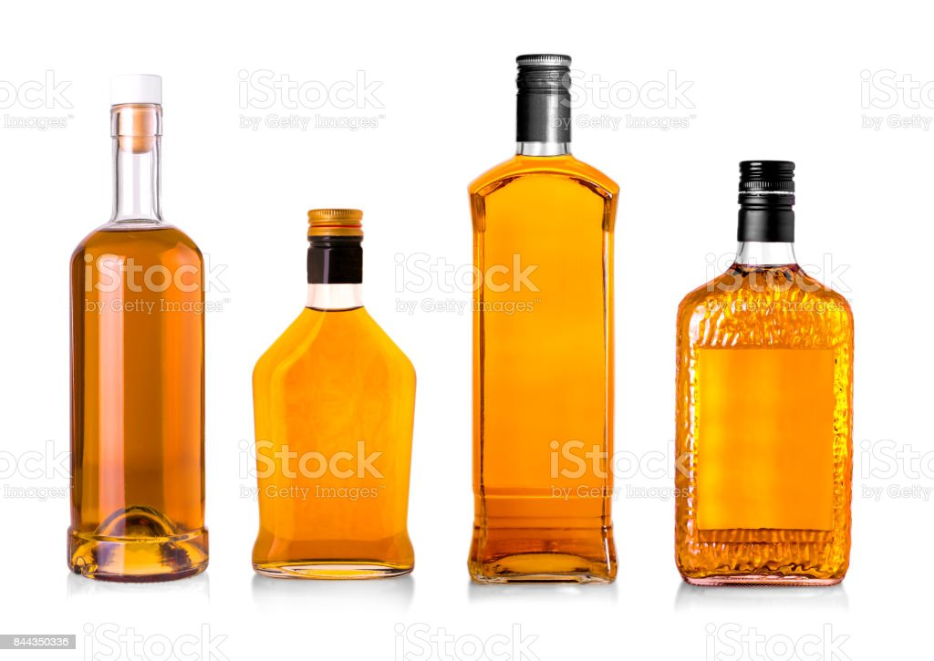 Set of Beautiful Whisky Bottles against well lit background. - foto stock