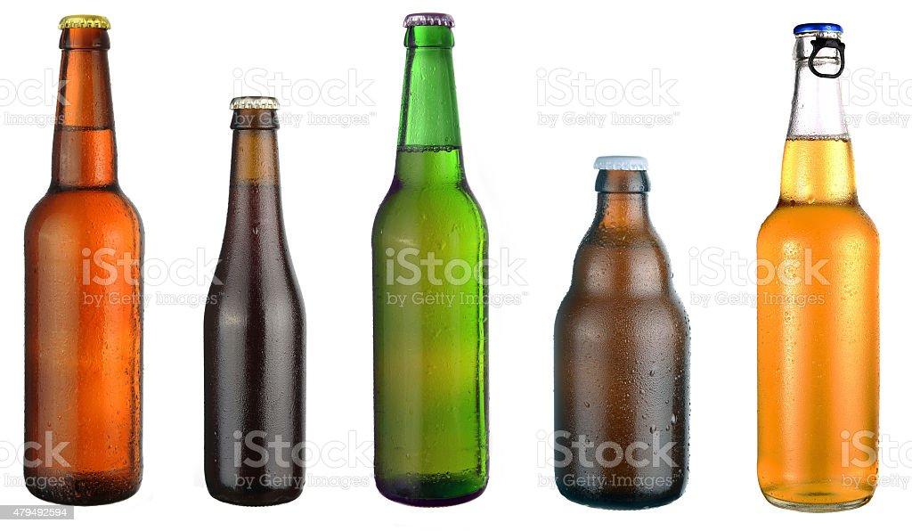 Conjunto de botellas de cerveza - foto de stock