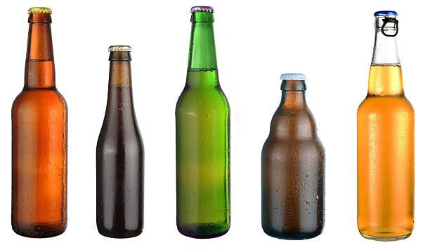 set of beer bottles stok fotoğrafı