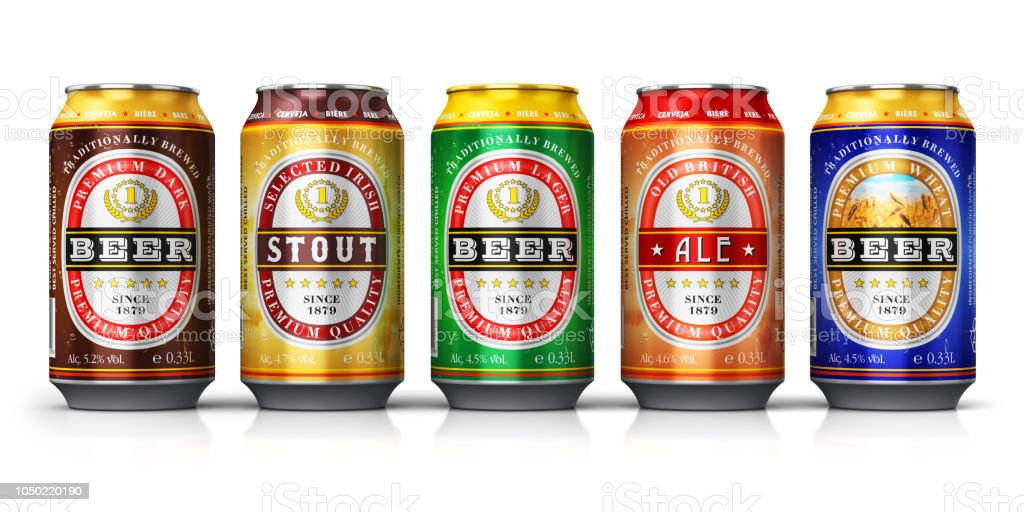 Set of beer cans isolated on white background stock photo