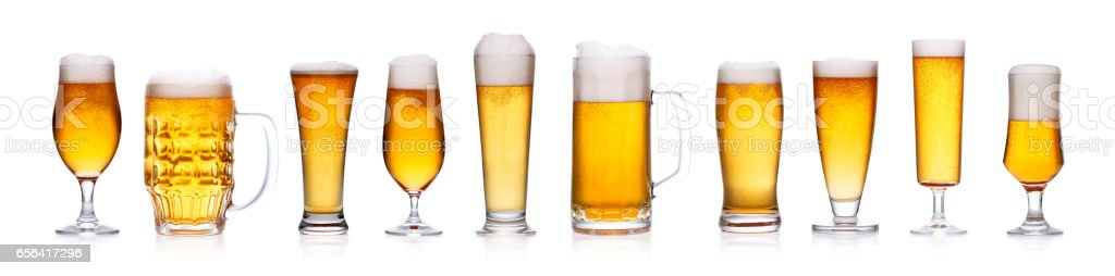 Set of beer glasses isolated on white – Foto