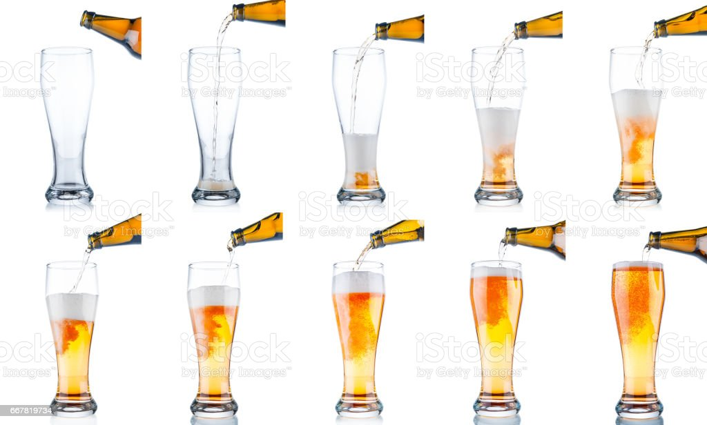Set of beer pouring from bottle into glass isolated on white background stock photo