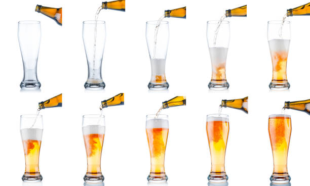 set of beer pouring from bottle into glass isolated on white background - beer pour stock photos and pictures