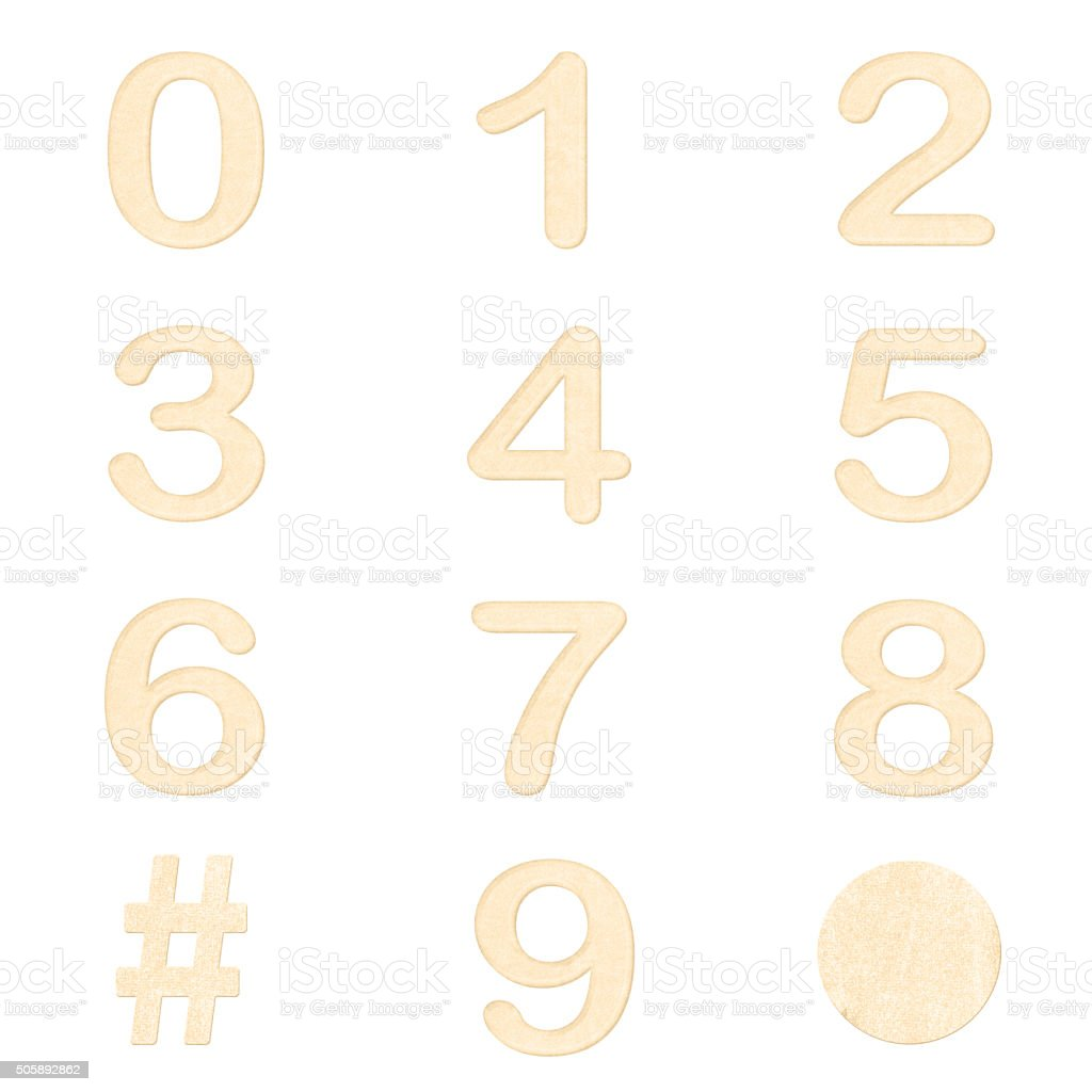 set of beige color number in paper craft texture isolated stock