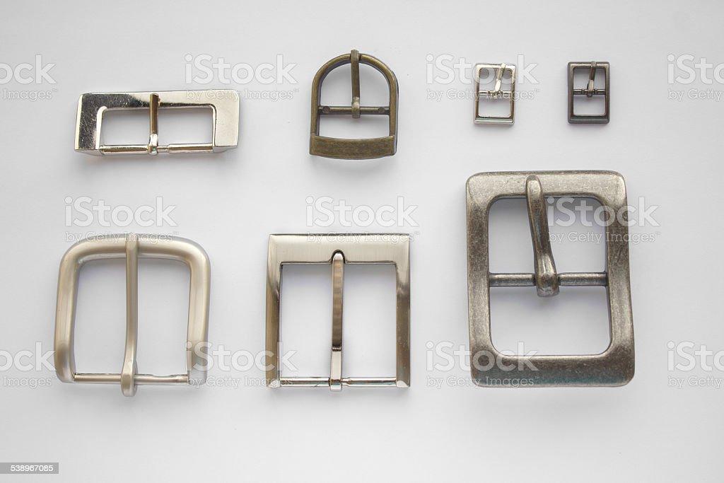Set of belt buckles isolated stock photo