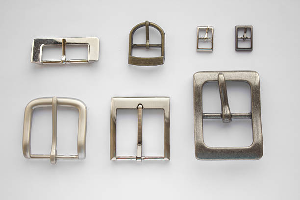 Set of belt buckles isolated stock photo