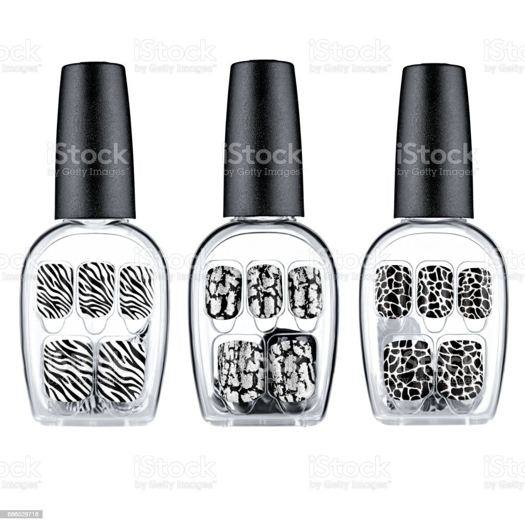 Set of black and white false nails foto stock royalty-free
