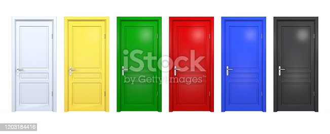 922736646 istock photo Set of black, blue, red, green, yellow doors isolated on white. Front 3D render of closed and open doorway in different color 1203184416