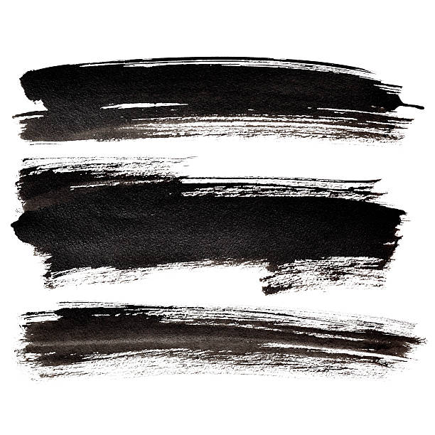 Set of black brush strokes Set of long black brush strokes  - raster illustration brush stroke stock pictures, royalty-free photos & images