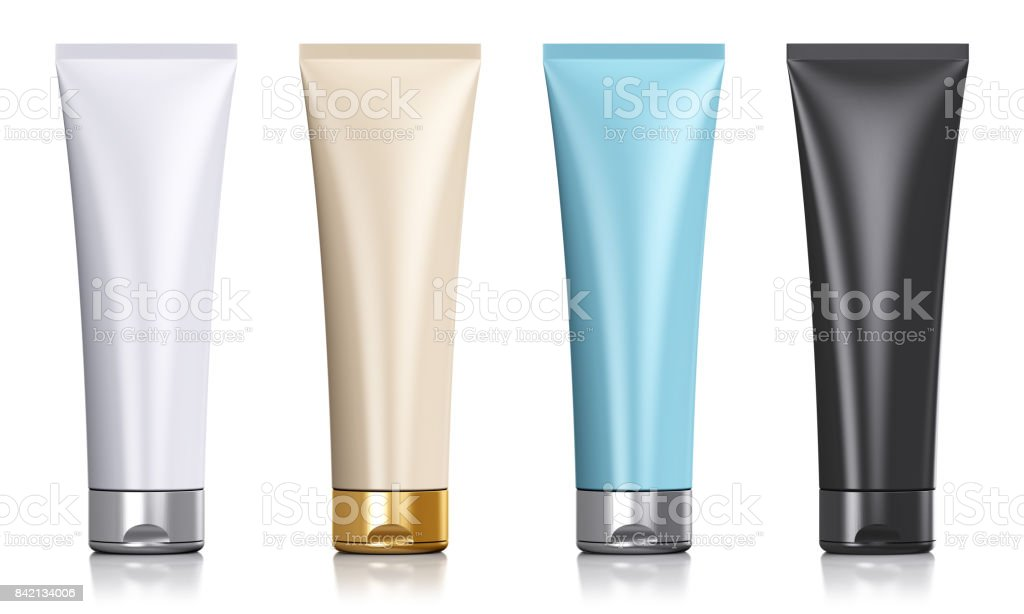 Set of black color cosmetic tubes stock photo