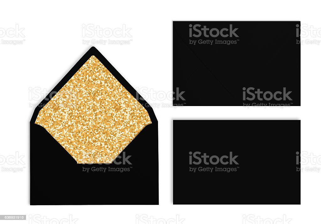 Set of black envelopes with golden texture inside, Mockup. stock photo