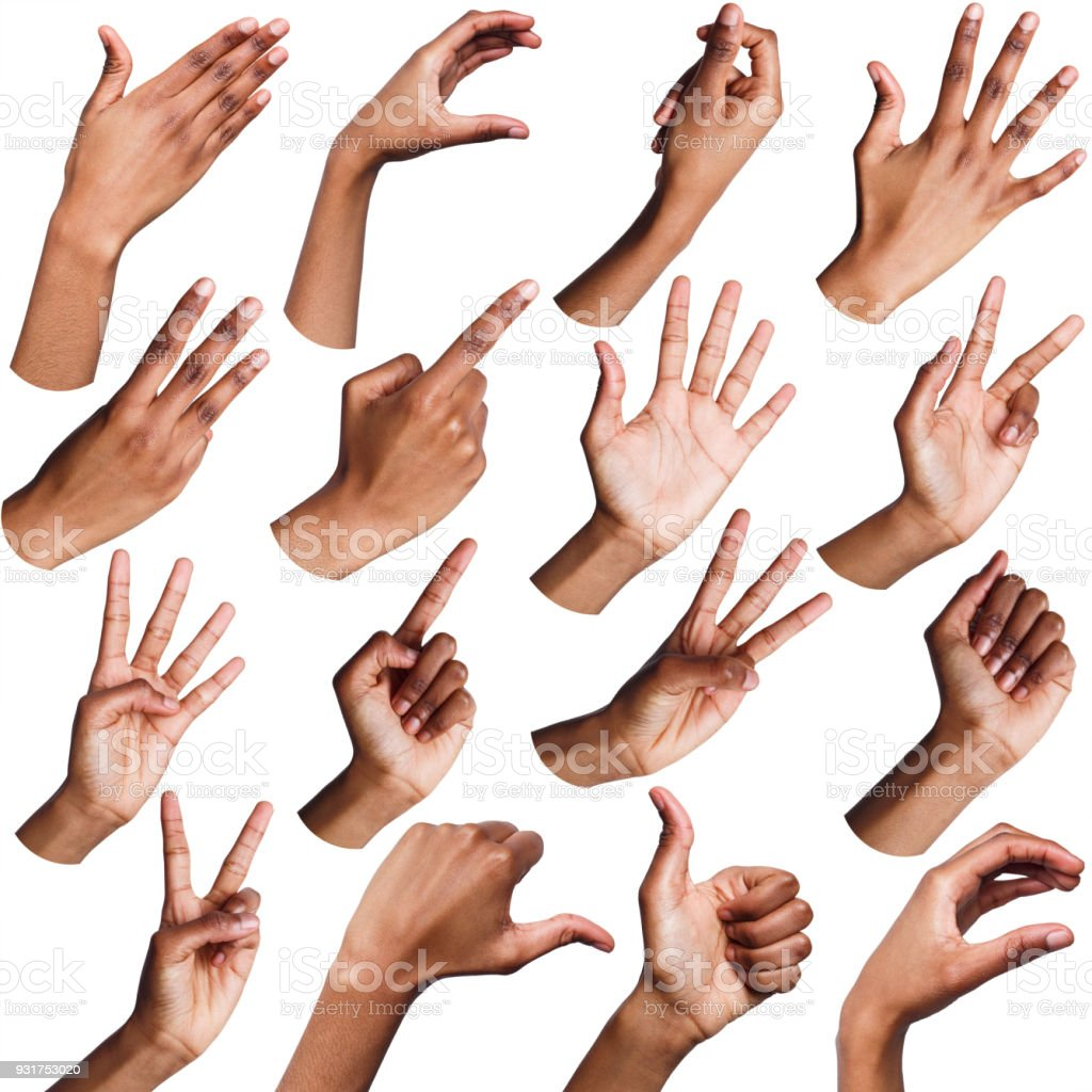 Set of black female hands showing symbols stock photo