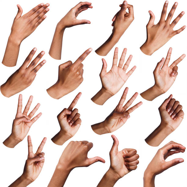 Set of black female hands showing symbols stock photo