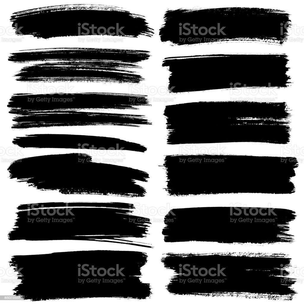 Set of black flat brush strokes Set of black flat brush strokes isolated on the white background - raster illustration Abstract Stock Photo