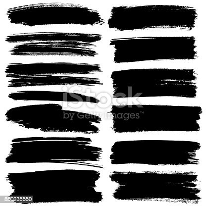 istock Set of black flat brush strokes 850235550