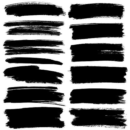 Set Of Black Flat Brush Strokes Stock Photo - Download Image Now