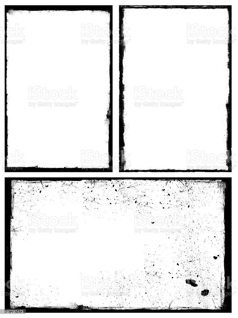 Set of black grunge frames isolated on white background stock photo