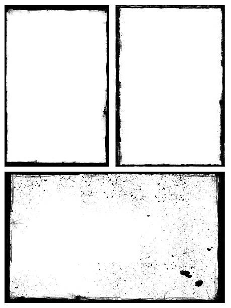 Set of black grunge frames isolated on white background Set of black grunge frames isolated on white background black border stock pictures, royalty-free photos & images