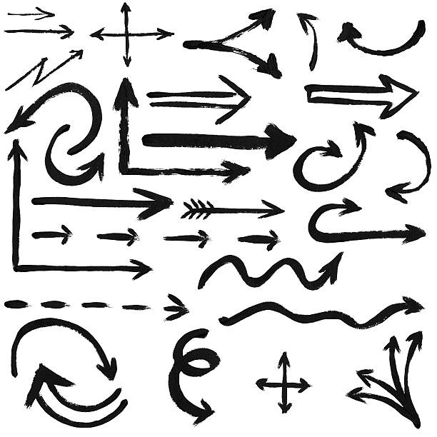 set of black ink arrows stock photo