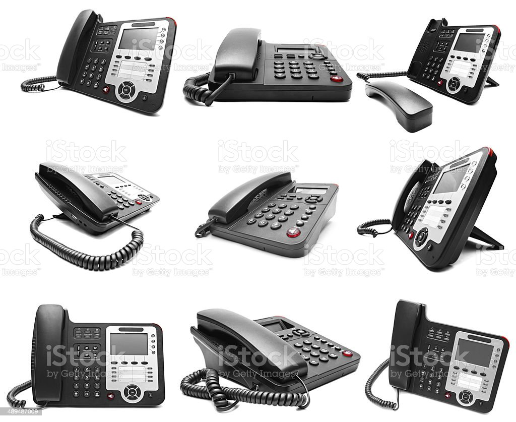 Set of Black IP office phone isolated stock photo