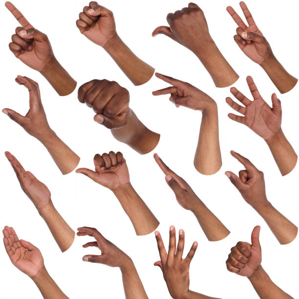 Set of black male hands showing symbols stock photo