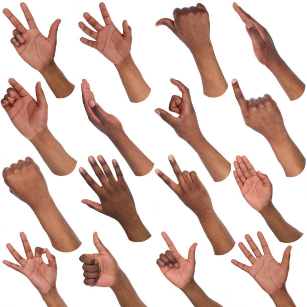 set of black male hands showing symbols - sport set competition round stock photos and pictures