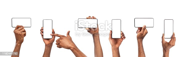 Set of black man's hands holding smartphone with blank screen isolated on white background, panorama
