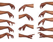 istock Set of black man's hands. Male hand picking up something 862590568
