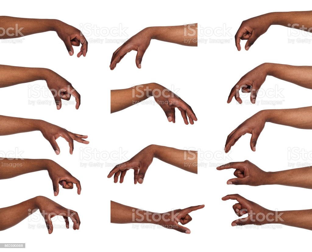 Set of black man's hands. Male hand picking up something - foto stock