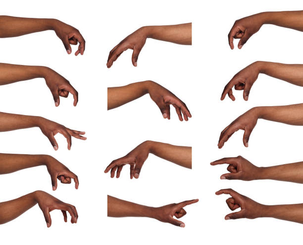 Set of black man's hands. Male hand picking up something stock photo