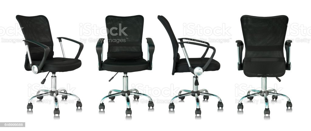 set of black office chair isolated on white background stock photo