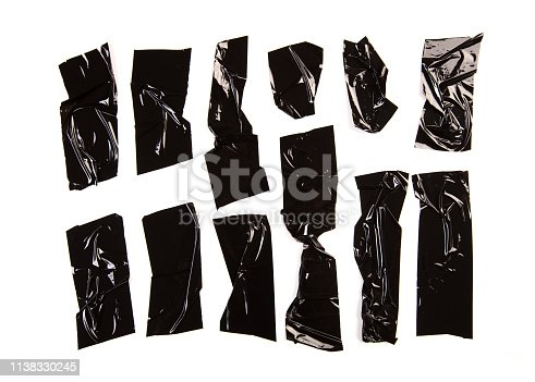 istock Set of black tapes on white background.  - Image 1138330245