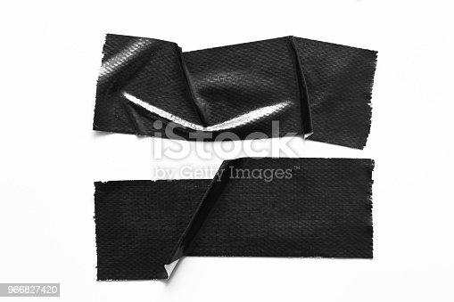 istock Set of black tapes on white background. Torn horizontal and different size black sticky tape, adhesive pieces. 966827420