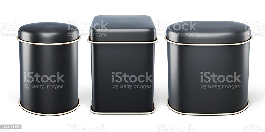 Set of black tin cans isolated on white background. stock photo