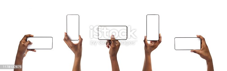 Set of black woman's hands holding smartphone with blank screen isolated on white background, panorama