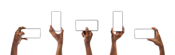 Set of black woman's hands holding smartphone with blank screen stock photo