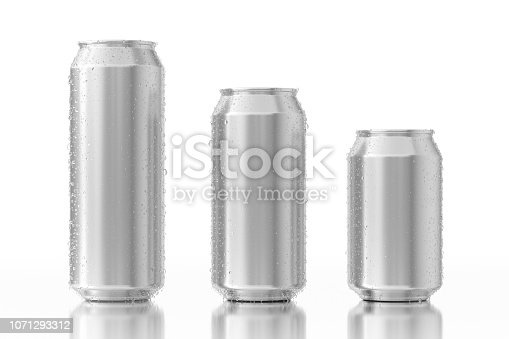 istock Set of Blank Aluminum Cans with Water Drops. 3d Rendering 1071293312
