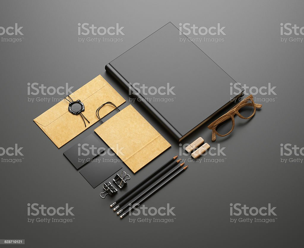 Set of blank elements on black background stock photo