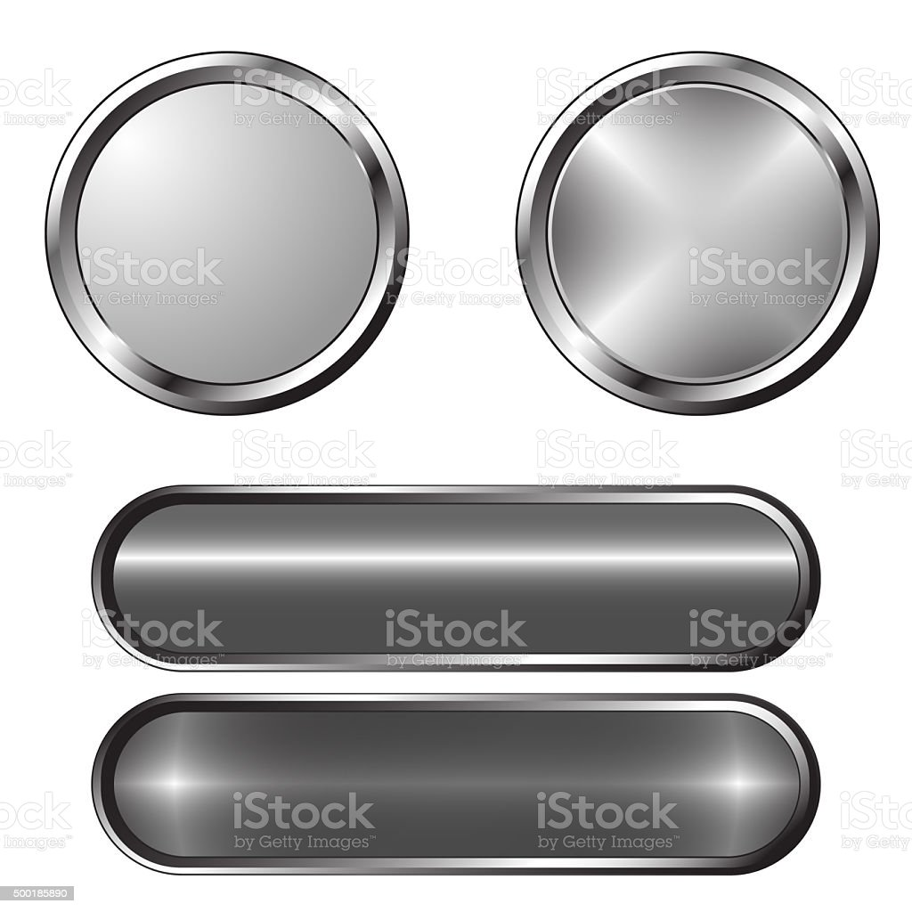 Set of blank grey buttons stock photo