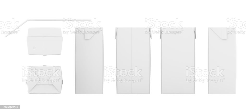 Set of blank juice boxes. Retail package mockup. Isolated on white. 3d rendering stock photo